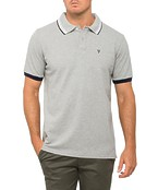 Mens Polo Top with Tipping and Emblem Embroidery