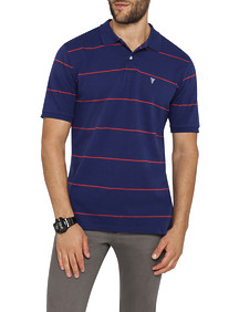 Mens Sports Polo Navy Red Stripe