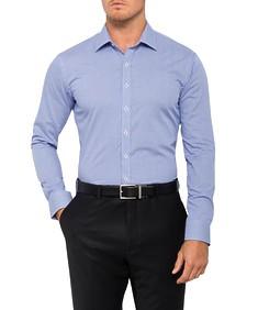 Mens Slim Fit Shirt Navy Check Spot