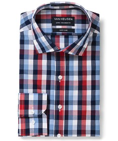 Euro Tailored Fit Shirt Red Blue White Large Check