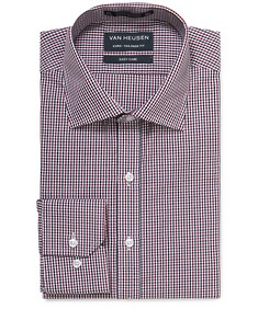 Euro Tailored Shirt Red and Navy Mini Check