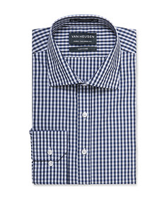 Euro Tailored Shirt Navy Med Gingham Check