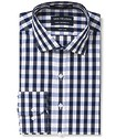 Euro Tailored Fit Shirt Navy White Large Check