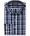 Euro Tailored Fit Shirt Navy Glen Check