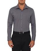 Mens Slim Fit Shirt Mini Check Grey Black