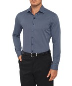 Mens Slim Shirt Medium Check Navy