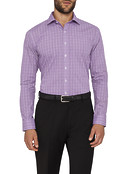 Mens Slim Fit Shirt Self and White Check