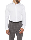 Mens Slim Fit Shirt White Self Dobby