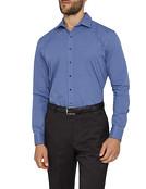 Mens Slim Fit Shirt Navy Blue Check