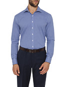 Mens Slim Fit Shirt Navy Geo Check