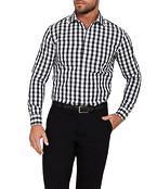 Mens Slim Fit Shirt Black and White Large Check