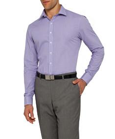 Mens Slim Fit Shirt Purple Dobby Print