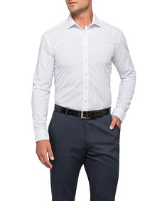 Mens Slim Fit Shirt White with Leaf Pattern