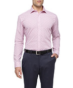 Mens Slim Fit Shirt Red With Blue Spec Embroidery