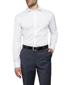 Mens Slim Fit Shirt Solid White Stretch