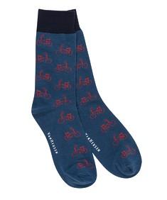 Socks Pair Blue Red Bicycle