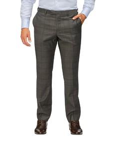 Slim Fit Suit Pant Charcoal Window Pane Check