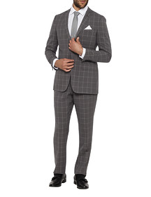 Mens Slim Fit Nested Suit Grey Window Pane