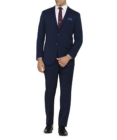 Mens Slim Fit Nested Suit Prince of Wales Navy