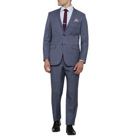 Mens Slim Fit Nested Suit Window Pane Slate Blue