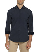 Mens Casual Shirt Navy Pin Dot Pattern