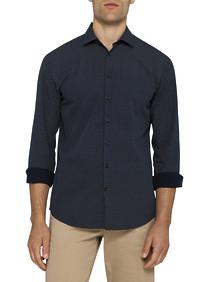 Mens Casual Shirt Navy Pin Dot Pattern
