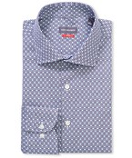 Slim Fit Shirt Purple Geo Print