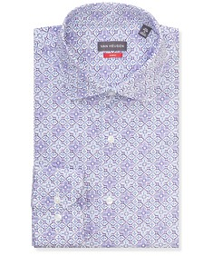 Slim Fit Shirt Purple Floral Tile Print
