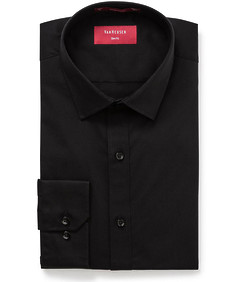 Mens Slim Shirt Stretch Solid Black