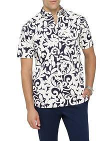 Mens Casual Short Sleeve Shirt Palm Print