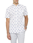 Mens Casual Short Sleeve Shirt Bird Print