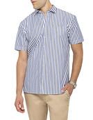 Mens Casual Short Sleeve Shirt Summer Stripe