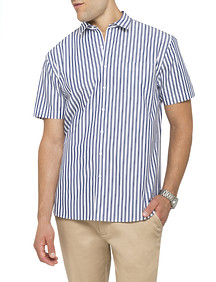 Mens Casual Short Sleeve Shirt Summer Stripe