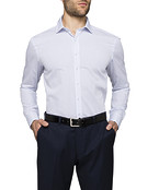 Men's Slim Fit Shirt White with Blue Stripe