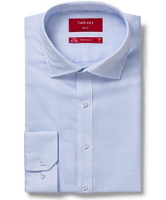 Mens Slim Fit Shirt Blue Dobby Stripe