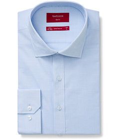Slim Fit Shirt Blue Self Texture