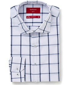 Mens Slim Fit Shirt Navy Wide Check