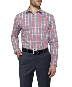 Mens Slim Fit Shirt Navy Red Check