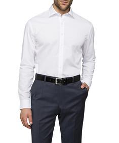 Mens Slim Fit Shirt White Self Dobby Stripe