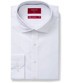 Slim Fit Shirt White Self Dobby Stripe