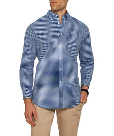 Mens Casual Shirt Navy Check