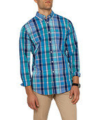 Mens Casual Shirt Navy Green Check