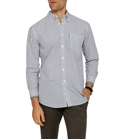 Mens Casual Ink and White Striped Shirt