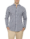 Mens Casual Shirt Navy Large Check