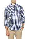 Mens Casual Shirt Navy Blue Check