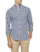 Mens Casual Shirt Navy Blue Check