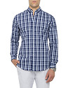 Mens Casual Shirt Navy Stripe Cross Check