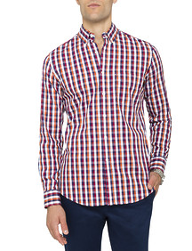 Mens Casual Shirt Red Orange Check