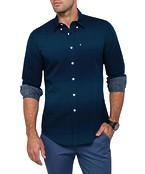 Van Heusen Casual Sports Navy Green Print Shirt