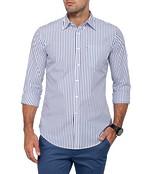 Mens Casual White Navy Stripe Shirt